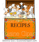 Cuisine Vector Clipart of a Group of Chef's Inside a Recipe Box by Djart