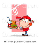 Cuisine Vector Clipart of a Hungry Boy with a Tray of Fast Food by Hit Toon