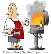 Cuisine Vector Clipart of a Man Watching Flames in His Barbeque by Djart
