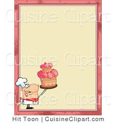 Cuisine Vector Clipart of a Menu Border with a Chef Holding a Cake by Hit Toon