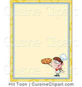 Cuisine Vector Clipart of a Pizza Boy Menu Border by Hit Toon