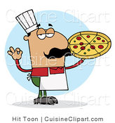 Cuisine Vector Clipart of a Pleased Male Hispanic Pizza Chef with His Perfect Pie by Hit Toon