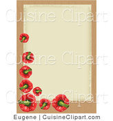 Cuisine Vector Clipart of a Red Bell Pepper Border by Eugene