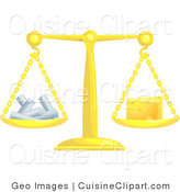 Cuisine Vector Clipart of a Scale Weighing Cheese and Chalk by AtStockIllustration