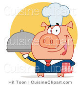 Cuisine Vector Clipart of a Serving Pig by Hit Toon