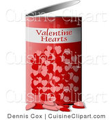 Cuisine Vector Clipart of a Valentine Can of Love Hearts by Djart