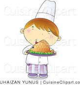 Cuisine Vector Clipart of a Young Male Chef Boy Smiling and Holding a Plate of Hot Seafood by YUHAIZAN YUNUS