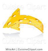 Cuisine Vector Clipart of an Arched Cheese Arrow by MilsiArt