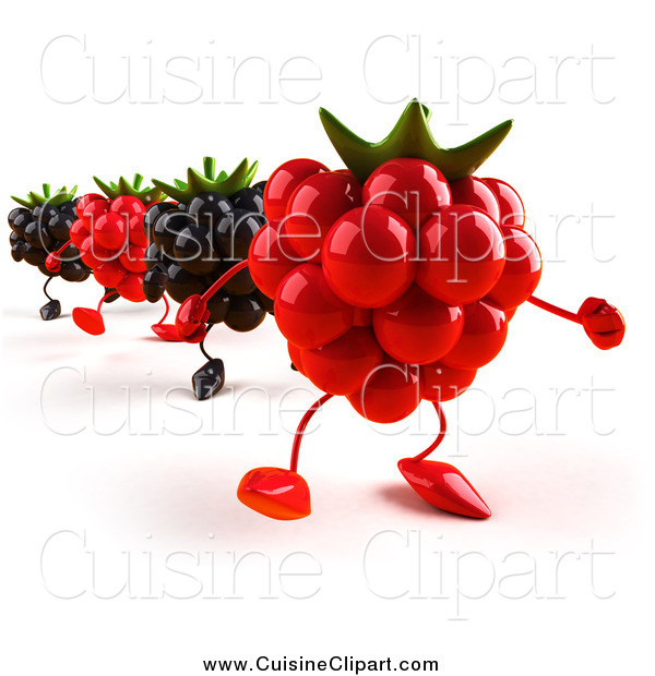 Cuisine Clipart of 3d Blackberry and Raspberry Characters Walking in Line