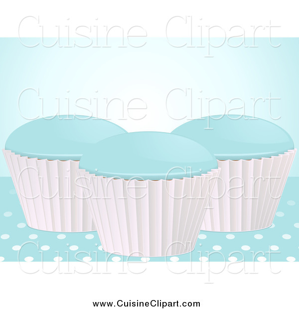 Cuisine Clipart of 3d Blue Cupcakes on Polka Dots
