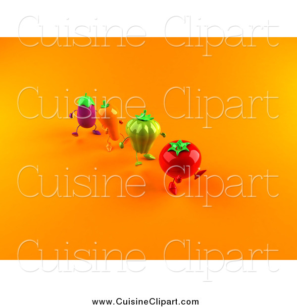 Cuisine Clipart of 3d Tomato, Bell Pepper, Carrot and Eggplant Characters Marching over Orange