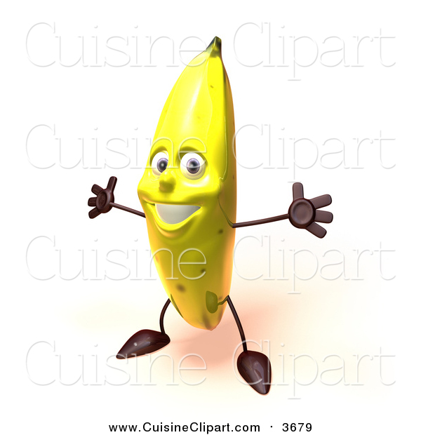 Cuisine Clipart of a 3d Banana Character Holding His Arms Open