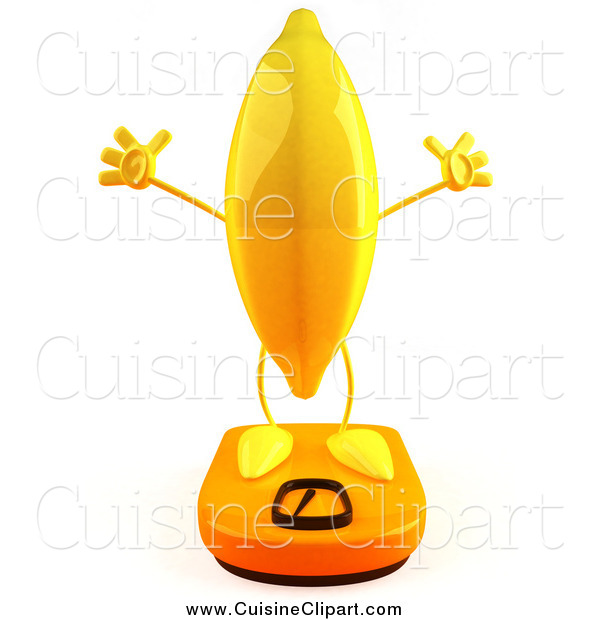 Cuisine Clipart of a 3d Banana Character on a Scale