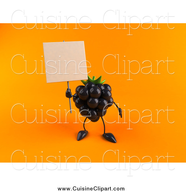 Cuisine Clipart of a 3d Blackberry Holding up a Blank Sign on Orange