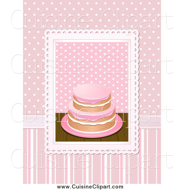 Cuisine Clipart of a 3d Cake over Pink Polka Dots and Stripes