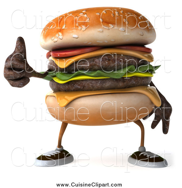 Cuisine Clipart of a 3d Cheeseburger Character Holding a Thumb up