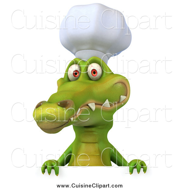 Cuisine Clipart of a 3d Chef Crocodile Smiling over a Sign