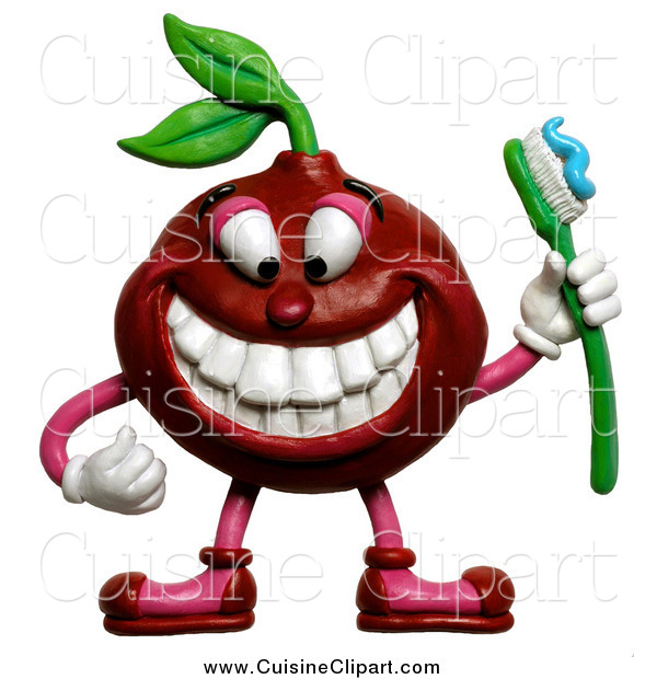 Cuisine Clipart of a 3d Cherry Holding a Toothbrush and Showing His Teeth