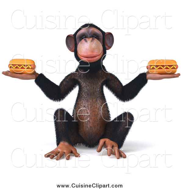 Cuisine Clipart of a 3d Chimp Sitting and Holding Two Hot Dogs