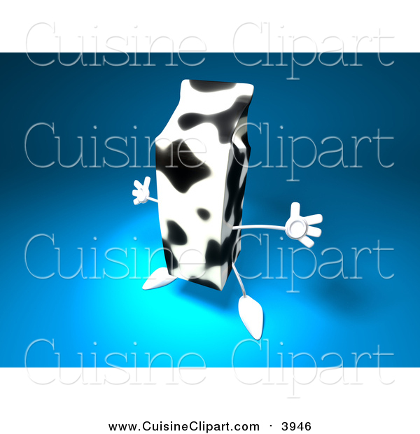 Cuisine Clipart of a 3d Cow Patterned Milk Carton on Blue