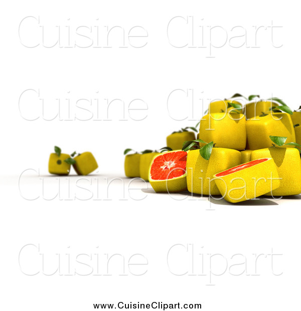 Cuisine Clipart of a 3d Cubic Genetically Modified Grapefruit