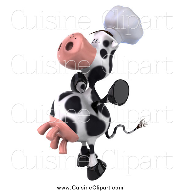 Cuisine Clipart of a 3d Excited Chef Cow Jumping