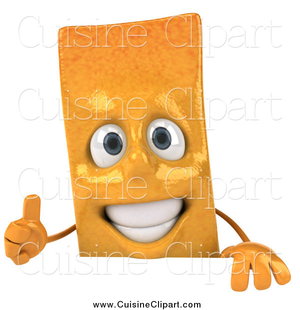 Cuisine Clipart of a 3d French Fry Character Holding a Thumb up over a Sign
