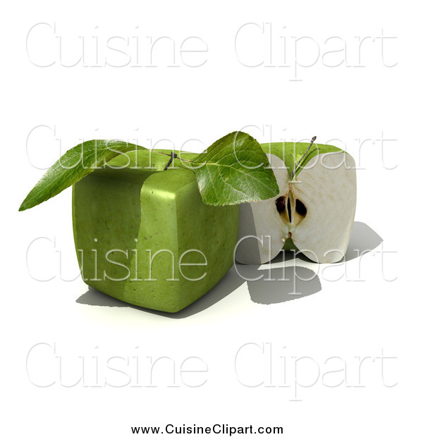 Cuisine Clipart of a 3d Genetically Modified Cubic Granny Smith Apple