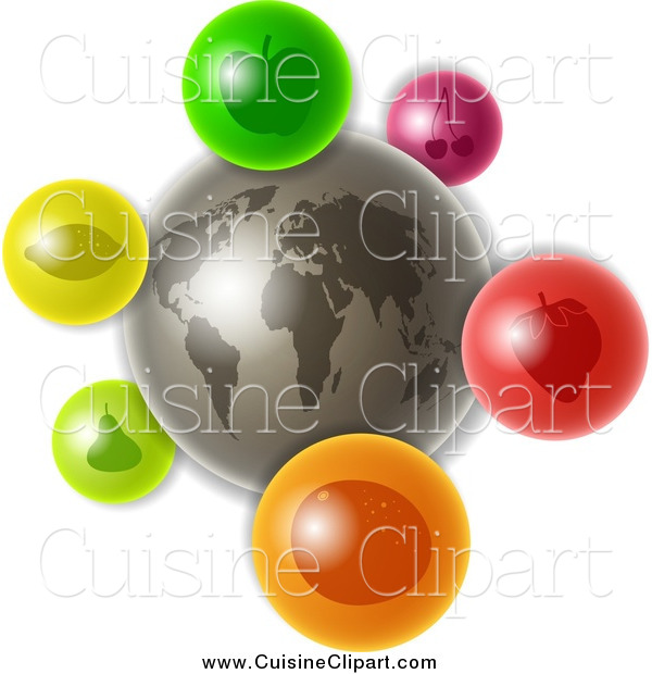 Cuisine Clipart of a 3d Gray Earth with Colorful Fruit Icons