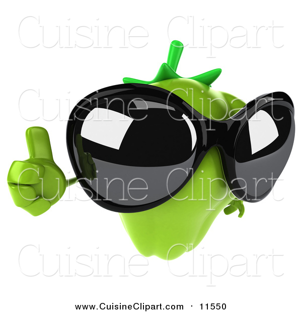 Cuisine Clipart of a 3d Green Bell Pepper Character Wearing Sunglasses and Holding a Thumb up