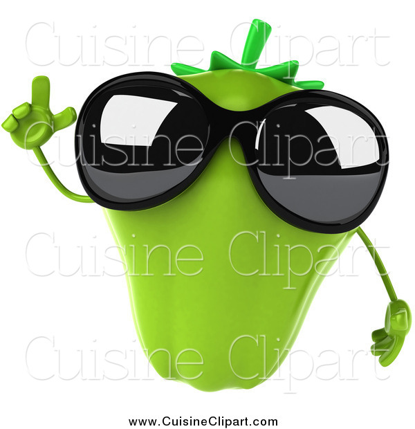 Cuisine Clipart of a 3d Green Bell Pepper Wearing Sunglasses