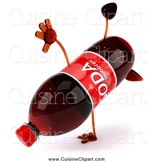 Cuisine Clipart of a 3d Soda Bottle Character Performing a Hand Stand