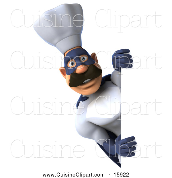 Cuisine Clipart of a 3d Super Chef Looking Around a Sign