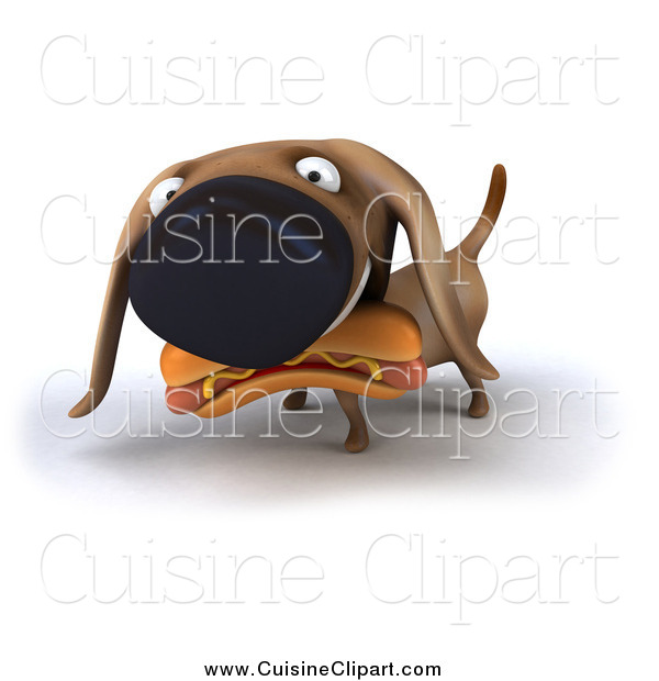 Cuisine Clipart of a 3d Wiener Dog Eating a Hot Dog