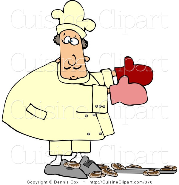 Cuisine Clipart of a Baker Accidentally Dropping a Pan of Baked Cinnamon Buns on the Floor