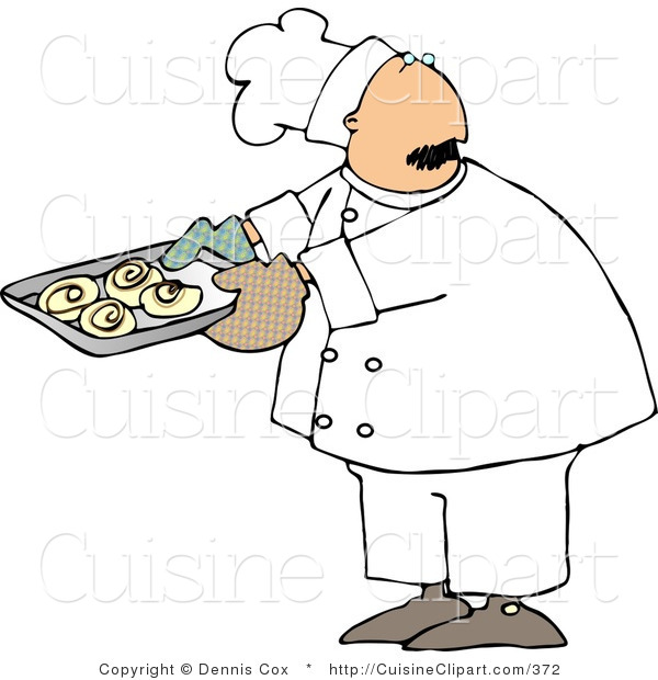 Cuisine Clipart of a Baker Looking over His Shoulder While Holding a Tray of Freshly Baked Cinnamon Buns