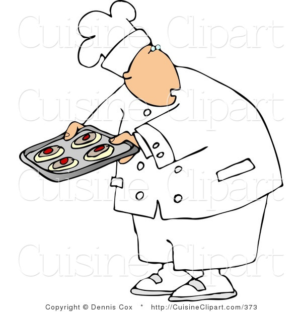 Cuisine Clipart of a Baker or Cook Looking over His Shoulder While Holding Raw Food on a Tray