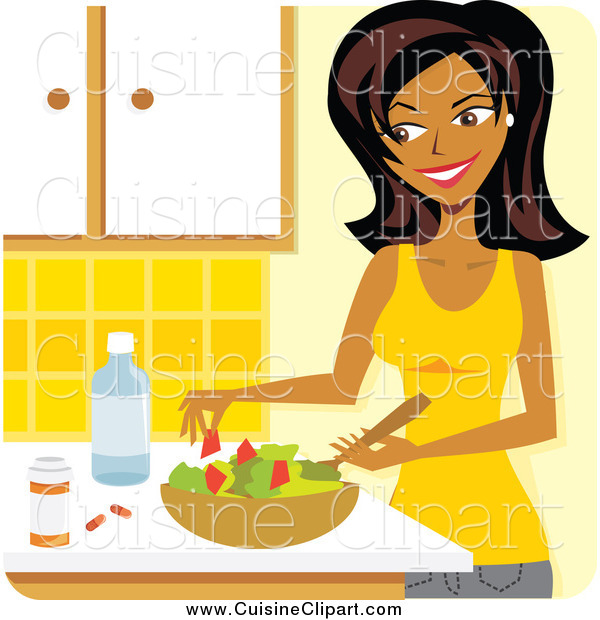 Cuisine Clipart of a Beautiful Woman Preparing a Salad and Supplements in a Kitchen