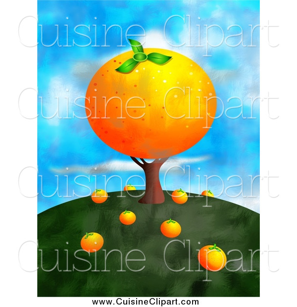 Cuisine Clipart of a Big Orange Tree on a Hill