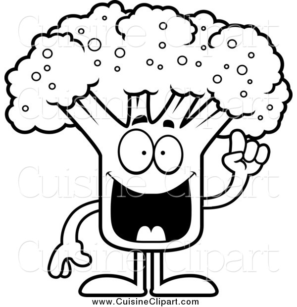 Cuisine Clipart of a Black and White Broccoli Mascot with an Idea