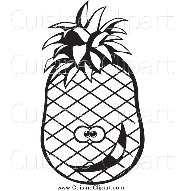 Cuisine Clipart of a Black and White Goofy Pineapple
