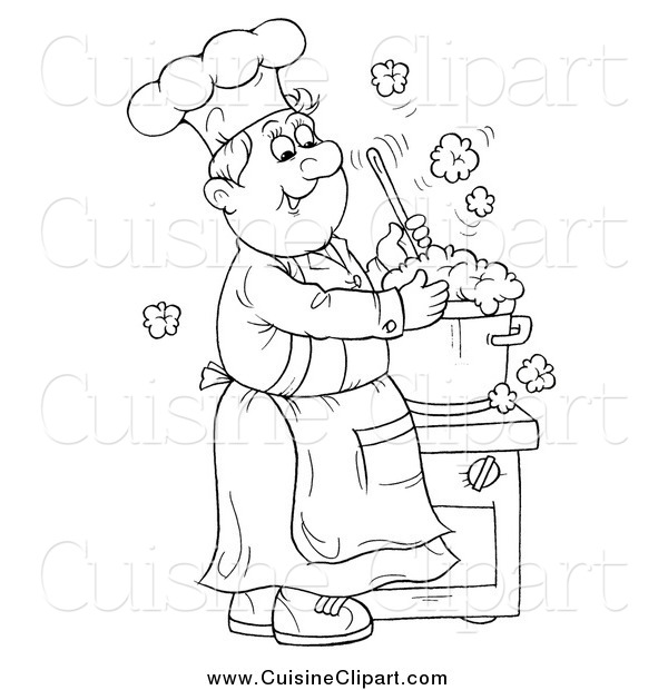 Cuisine Clipart of a Black and White Happy Chef Making Soup