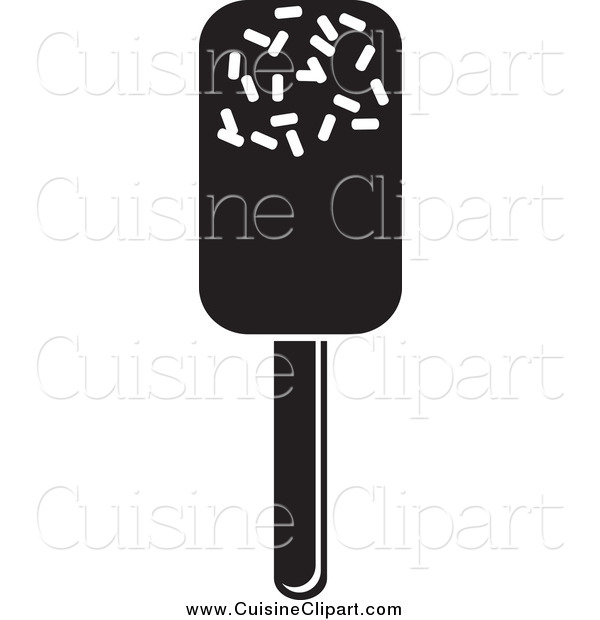 Cuisine Clipart of a Black and White Ice Pop