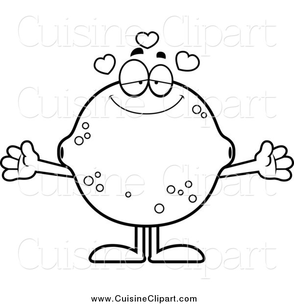 Cuisine Clipart of a Black and White Loving Lemon or Lime Mascot with Open Arms