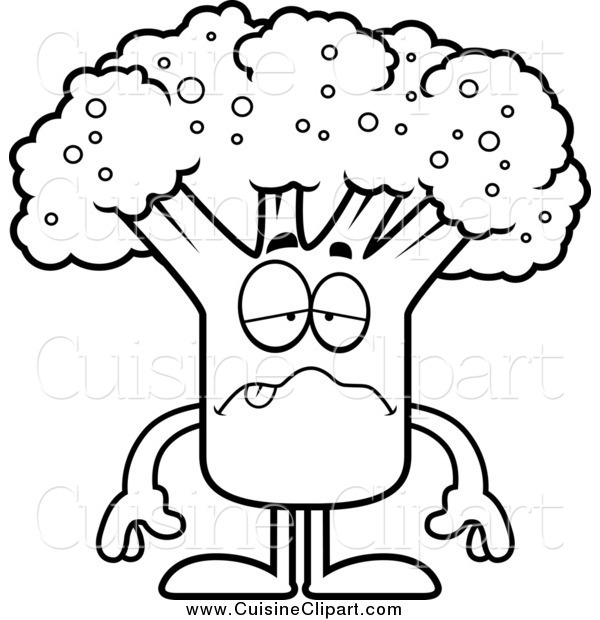 Cuisine Clipart of a Black and White Sick Broccoli Mascot