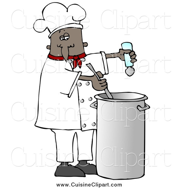 Cuisine Clipart of a Black Male Chef Seasoning Soup with a Salt and Stirring It While Cooking in a Kitchen
