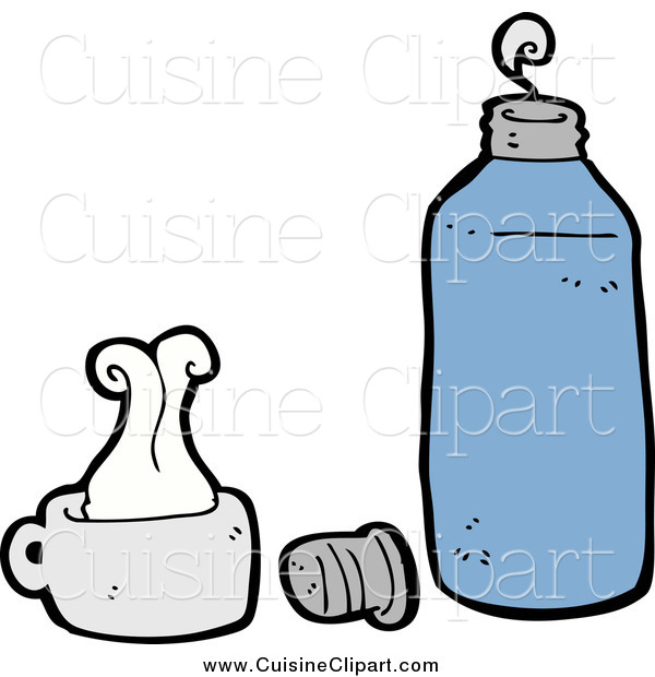 Cuisine Clipart of a Blue Thermos and Cup