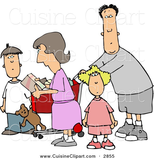 Cuisine Clipart of a Bored Family Grocery Shopping Together