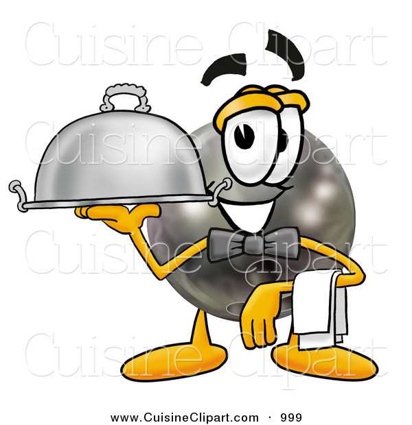 Cuisine Clipart of a Bowling Ball Mascot Cartoon Character Dressed As a Waiter and Holding a Serving Platter