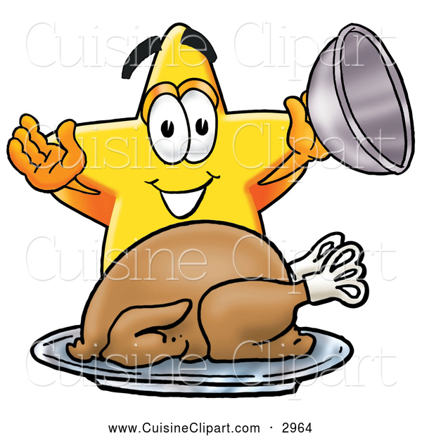 Cuisine Clipart of a Bright Star Mascot Cartoon Character Serving a Thanksgiving Turkey on a Platter